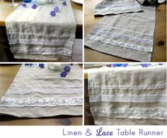 Linen and Lace Table Runner Tutorial. Wouldn't a linen and lace a-line skirt be lovely, too?