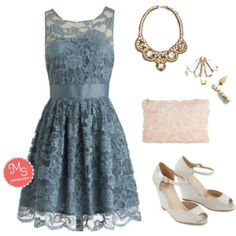 When the Night Comes Dress in Smoke, Wander the Wharf Wedge, Chic to Chic Clutch, Music Hall Magnificence Earrings, Guest A-List Necklace    #lace #accessorizing #prom