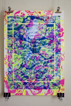 A3 Risograph print with fluorescent marbling inks. / Ruth Evans