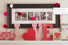 Decoupage LOVE Letters Mantle