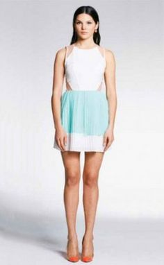 Mint & White Pleated Dress with Nude Mesh #partydress