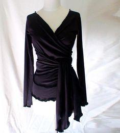 Womens wrap top with ruffled hem  custom made organic by econica, $88.00