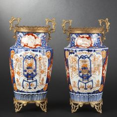 """Pair of porcelain vases with """"Imari decoration"""" #expertissim"""