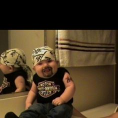 Harley Davidson baby costume...So see Brentley being this for Halloween!! :)