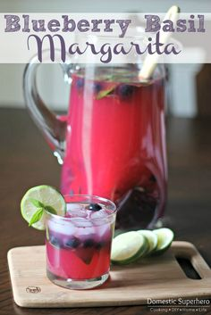 Easy Blueberry Basil Margaritas -