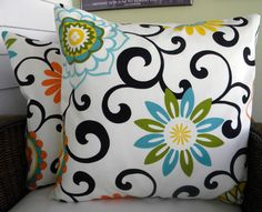"""NEW-Pair of Designer Decorative Pillow Covers- Suzani Floral and Scroll - Orange, Aqua, Yellow - 20"""" Square. $40.00, via Etsy."""