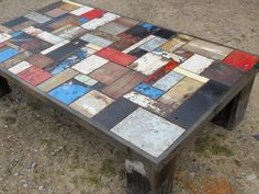 coffee table with many different tiles on top