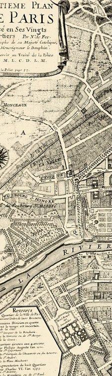 Antique map of Paris