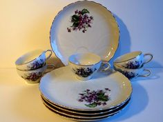Vintage Violet Luncheon Snack Tea Cups & Plates with Gold Rim - 5 Sets - Made in Japan by TimelessTreasuresbyM on Etsy