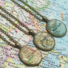 custom map, pendant, bridesmaid jewelry, vintage maps, bridesmaid gifts, graduation gifts, map necklace, travel quotes, friend gifts