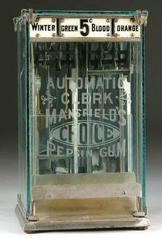 Mansfield's Choice Pepsin Gum, Glass Case, 5 Cent, 12 inch. A Mansfield Automatic Clerk glass case Pepsin gum machine