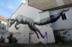 beat it. street artists, animal paintings, urban art, rabbits, graffiti, circle of life, mural, foxes, streetart