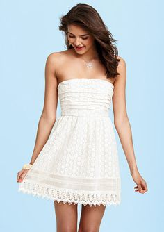 dELiAs > Crochet Ruched Strapless Dress > dresses > lace