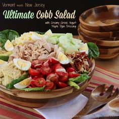 The classic Cobb Salad is updated with fresh, local, seasonal ingredients like corn, cheddar cheese, and maple syrup.