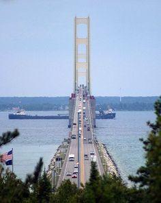 "Mackinaw bridge #puremichigan -- ""Big Mac"" connects lower Michigan to upper Michigan ( The UP)"