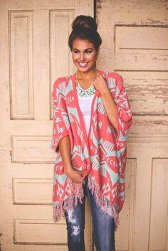 Dottie Couture Boutique - Mint/Coral Poncho Sweater, $46.00 (http://www.dottiecouture.com/mint-coral-poncho-sweater/)