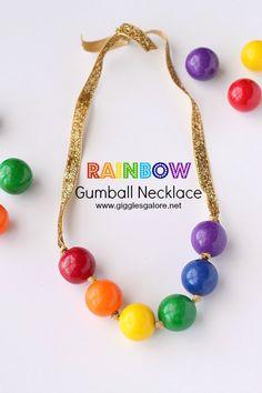 DIY rainbow gumball necklace