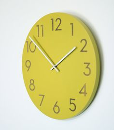 14 inch large modern wall clock chartreuse, white or wood finish via Etsy