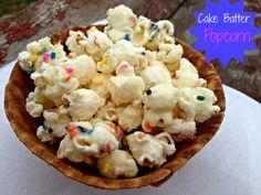 Easy Cake Batter Popcorn Treats! #Sweets #treats #popcorn #snacks cake batter popcorn, birthday treats, cakes, cake mixes, sweet treats, popcorn snacks, chocolate candies, yummi cake, popcorn treats