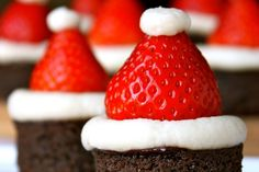 Santa Hat Brownies - These festive Santa Hat Brownies are sure to be a hit at your next holiday party!