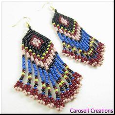 Native American Beadwork Seed Bead Earrings in Multicolored Fringe TAGS -  Earrings, Beaded, native american, beaded, beadwork, handmade, seed bead earring, seed beaded, jewelry, fringe, black, blue, red, tan, handmade, accessories, women, ladies, etsy