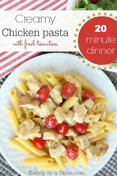 Oh wow! This dinner is delicious. We fed our family of 6 for under $5. Try out this easy creamy chicken pasta recipe.   http://eatingonadime.com/20-minute-dinner-creamy-chicken-pasta-with-fresh-tomatoes/