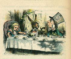mad tea party tea time, tea parti, vintage, illustrations, parties, teas, alice in wonderland, mad hatter, lewis carroll
