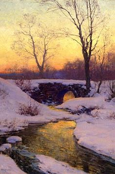 """This is an oil on Canvas by Walter Launt Palmer. It is entitled """"Snow-Bound Brook"""". One of the most celebrated painters of snowy landscapes and a harbinger of American Impressionism, Walter Launt Palmer was born in Albany, New York, in 1854."""