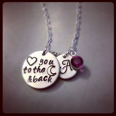 Personalized Hand Stamped - Love you to the moon and back Necklace with Monogram