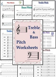 NINE Treble and Bass Pitch worksheets     $