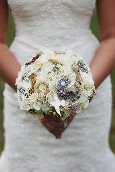 brooch & fresh flower bouquet