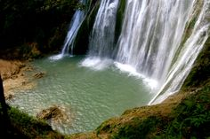 El Limon Waterfall in Samana, Dominican Republic.