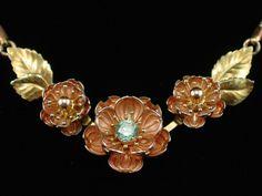 Gorgeous Krementz Blue Rhinestone Flower Lavalier Necklace