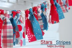 4th of July Stars and Stripes fabric bunting tutorial