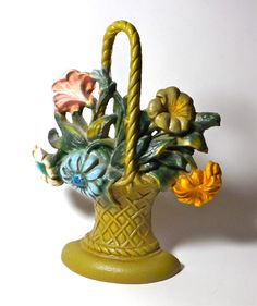 Vintage Cast Iron Flower Basket Door Stop by borahstyle on Etsy, $35.00