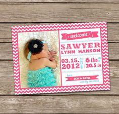 Birth Announcement : Sawyer Baby Girl Custom Photo Birth Announcement. $15.00, via Etsy.