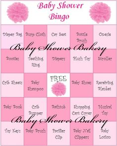 Girl Baby Shower Bingo Pink Baby Shower Bingo by BabyShowerBakery, $15.00
