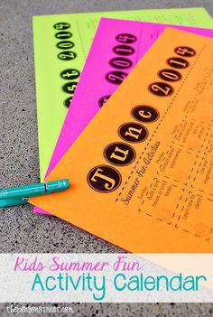 Kids Summer Fun Activity Calendar 2014 at thebensonstreet.com #summer #funforkids