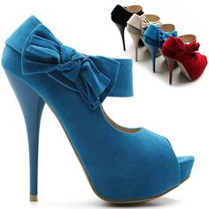 cute blue ankle boots w/bow