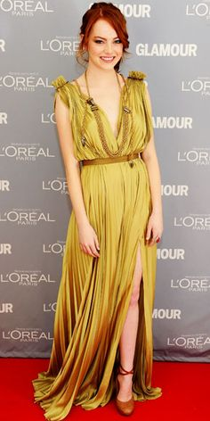 Emma Stone in an amazing Lanvin dress...this color is fantastic!