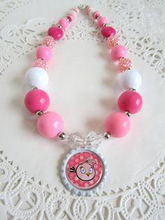 PINK BUBBLEGUM Necklace choose your pendant by raspberryandorange