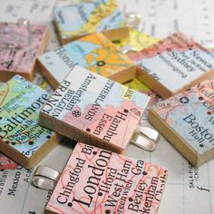 Map Scrabble Tile Pendant.  Vintage.  You Select the Journey.  by dlkdesignsmapjewelry.com