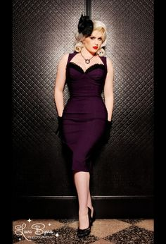 The Masuimi dress in deep plum from Pinup Couture $98