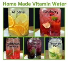 Make your own vitamin water. Add fruits instead of sugar for a natural sweetener Cut the fruit into paper-thin slices or small chunks. Combine ingredients with water. Refrigerate 4-6 hours and serve over ice.