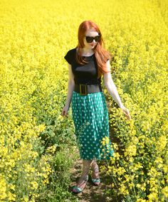 green polka dot midi skirt