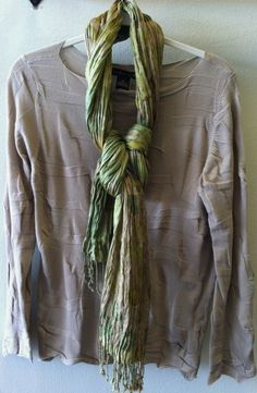 Babette Slim Tee in Wheat with a Pavo silk scarf
