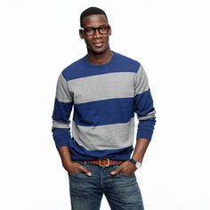 Cotton-cashmere crewneck sweater in rugby stripe