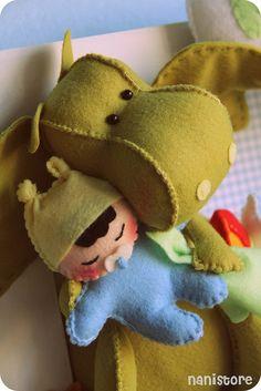 Felt Dragon with Baby
