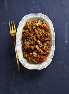 Nutmeg and savory—two seasonings commonly found in 19th-century stuffing recipes—add subtly sweet and herbal notes to this dish.
