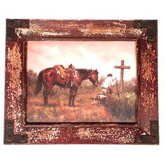 Cowboy Home Decor   Praying Cowboy Canvas Worn Frame   MonsterMarketplace.com